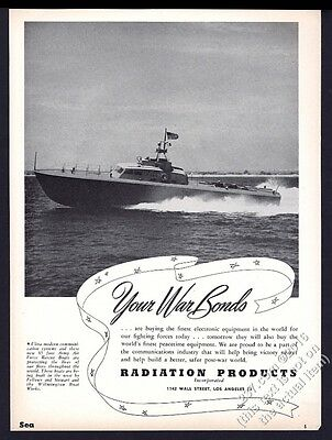 1944 US Army Air Force Rescue Boat photo Radiation Products vintage print ad