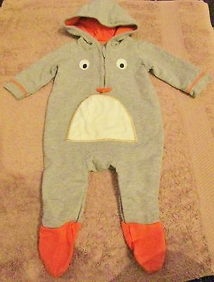 George Boys Penguin Character Hooded All In One 0-3M
