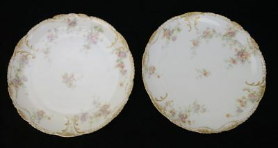 2 Theodore Haviland Limoges Schleiger ? Hand Painted Floral Double Gold Plates