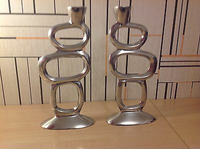 """Very Contemporary Pair Of Aluminium Candle Sticks, 10"""" High, For 7/8"""" Candles"""