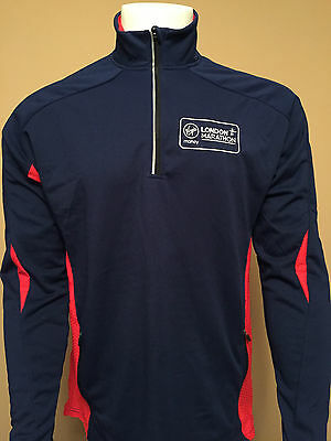 London Marathon Running Top Mens Size Medium Virgin Money Blue 1/4 Zip Skin
