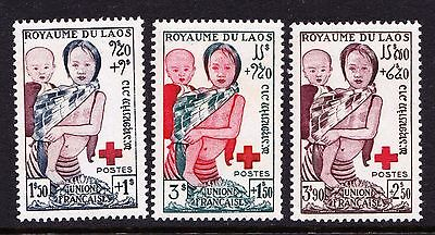 Laos 1953 Red Cross Fund - mint hinged set of 3 - SG 29-31 - Cat £8  - (739)