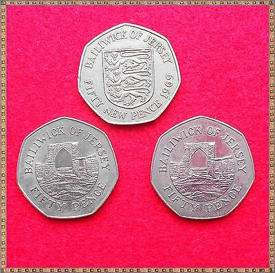 1969, 1986, 1987. 3 x BIG OLD 50 PENCE COINS FROM JERSEY.