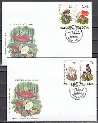 + Moldova, Scott cat. 665-668. Mushrooms issue on 2 First Day Covers.
