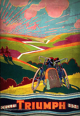 VINTAGE TRIUMPH CYCLES  Advertising Poster Retro old style home decor wall art