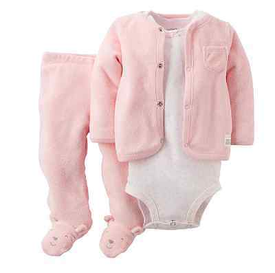 *NEW* CARTER'S BABY GIRLS SIZE 6m PINK TERRY 3PC BODYSUIT CARDIGAN N PANTS SET