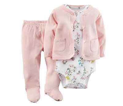 *NEW* CARTER'S BABY GIRLS SIZE 6m POINTELLE 3PC BODYSUIT CARDIGAN N PANTS SET