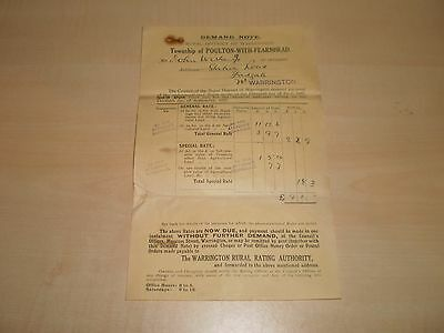 1927 Original Warrington Poulton-With-Fearnhead Rates Bill For House Station Roa