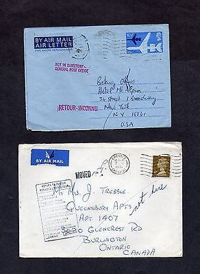 1970s.4xCOVERS/POSTAL STAT'Y.INSTRUCTIONAL MARKINGS.TO PAY.RTS.2nd CLASS RATE.