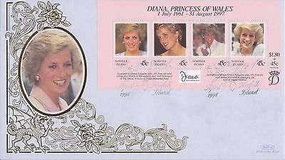 Norfolk Isl Stamps First Day Cover 1998 Princess Diana Benham Ltd Edn Collection