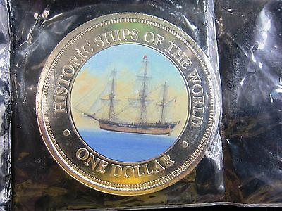 """great Ships Of The World"" Hms Endeavour Ship Colorized Coin Cook Islands-"