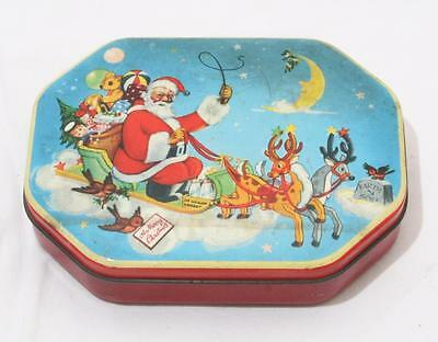 Unusual Antique Vintage 1950s Fillerys Toffees Christmas Theme Tin