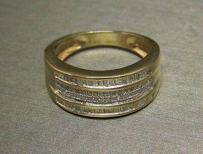 Unisex Art Deco Inspired 10K Gold 0.90TCW Round & Baguette Diamond Wedding Band
