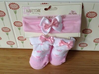 Baby Town Baby Girl Princess Socks And Headband Set Pink & White 0-6 Months New