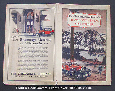 Vintage * MILWAUKEE JOURNAL TOUR CLUB * U.S. MAP TRANSCONTINENTAL EARLY 1900'S