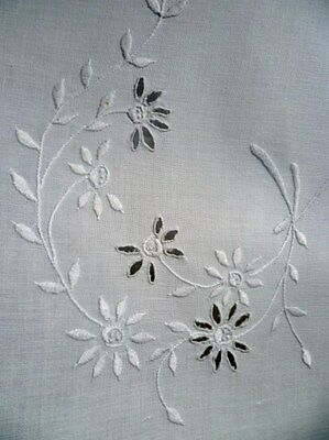 FANCY Vintage KITCHEN Over TOWEL w/ WHITE HAND EMBROIDERY
