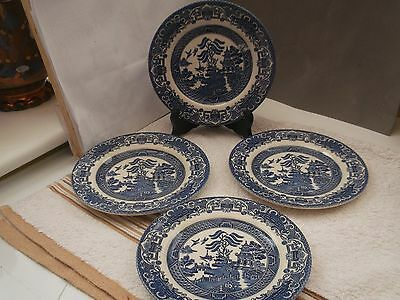 Five Blue And White Willow Pattern Side Plates   By Churchill Pottery