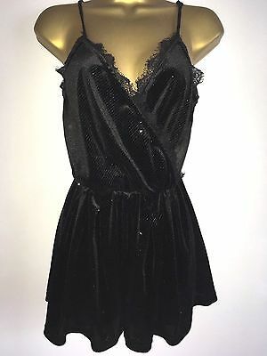 TopShop Black Velvet Lace Silver Glittery Short Playsuit Uk Size 10