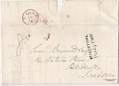 1821 Maidstone Penny Post Insurance Letter Charing Kent To Samuel Bignold London