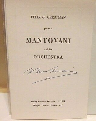 1961 Mantovani signed program from New Jersey concert