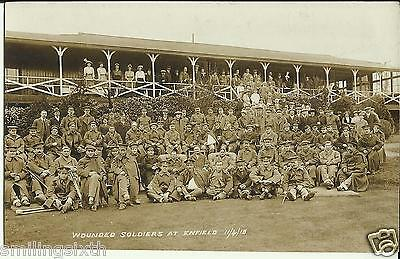 WW1 postcard Large group of wounded soldiers at ENFIELD  card dated 1915