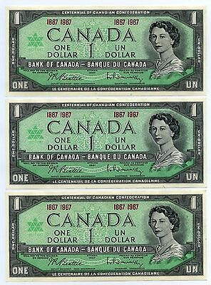 1967 Bank of Canada One Dollar Note - Lot 0f 3 Notes CU - $1 Notes