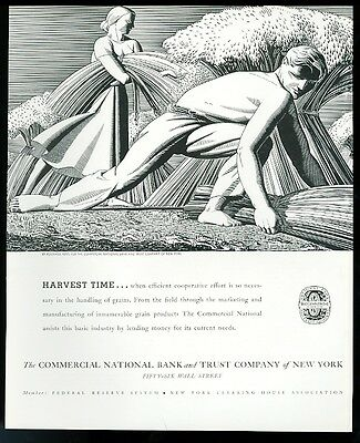 1934 Rockwell Kent grain harvest art Commercial National Bank of NY print ad