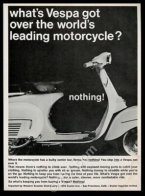 1966 Vespa scooter moped photo vintage print ad