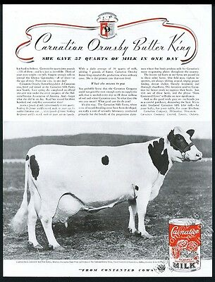 1936 Carnation Ormsby Butter King champion milk cow photo vintage print ad