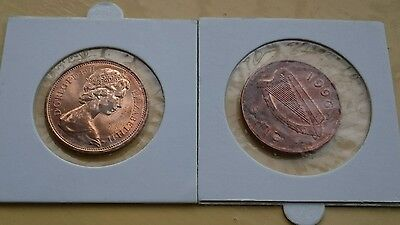 2 x UK (1971) & Republic of Ireland (1996) old 2 pence coins