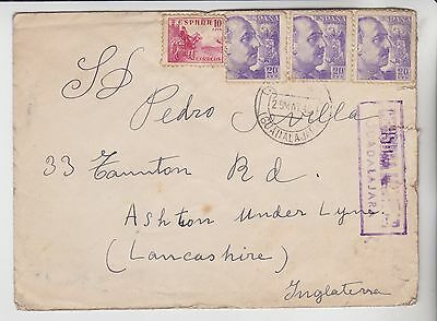 Spain Espana Stamps 1940 Censored Envelope To England From Collection