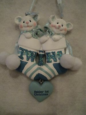 "KSA ""BABY'S 1ST CHRISTMAS ORNAMNT ~ TWIN BOYS"" ~ Can Be Personalized ~ CUTE!!!!!"