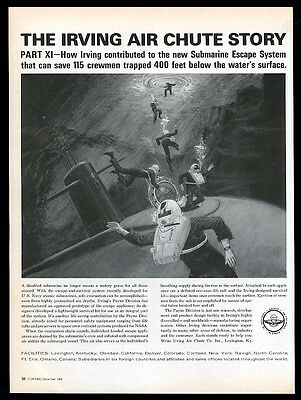 1966 Irving Air Chute US Navy submarine rescue system vintage print ad