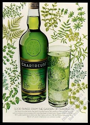 1977 Chartresue liqueur green bottle and drink photo vintage print ad