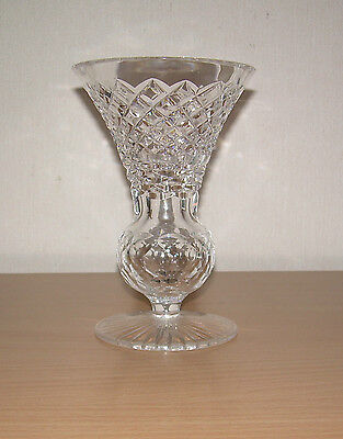 Tyrone Crystal Vintage vase.Cut Irish Glass. Thistle shape Etched 6 inch.Lable