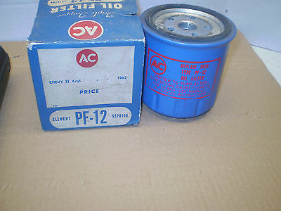 1962-63 Chevy Ii Ac Gm Oil Filter Nos In Box '4 Cylinder 'pf-12