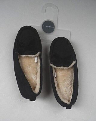 Womens CHARTER CLUB Black Soft and Warm Slippers Size Medium 7-8