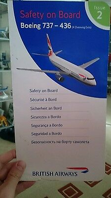British Airways Boeing 737-436 Safety Card, issue 2
