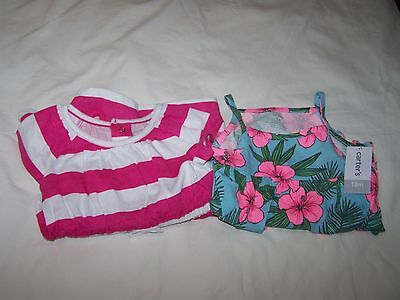 Carter's Toddler Girls 2 Piece Striped Dress & Cover; Floral Romper; 18 Mos; NWT