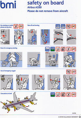 bmi Airbus A330 Safety Card