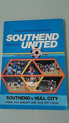 Southend United v Hull City Programme, Division 3 - Friday 25th January 1980
