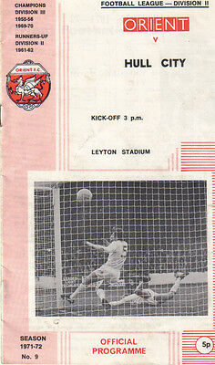 Orient v Hull City, Division 2 on 12/11/1971 Programme