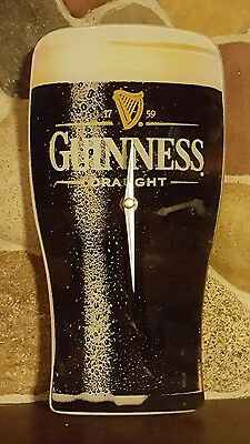 Guinness Draught Beer Reverse Painted Glass Wall Clock ~RARE~