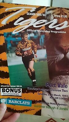 Hull City v Port Vale, Division 2 season 1992/93 on 27/03/1993 Programme