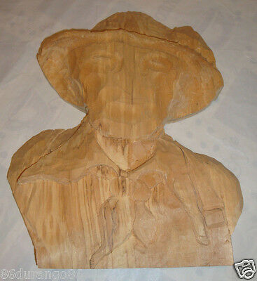 Wood Carving Blank Cowboy Started Not Finished