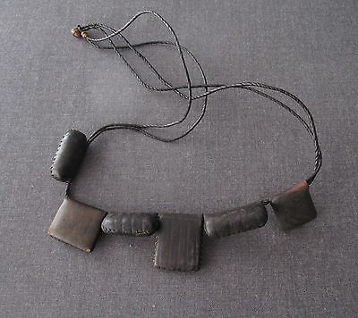 Antique African Tuareg Niger Leather Amulets Necklace   #7