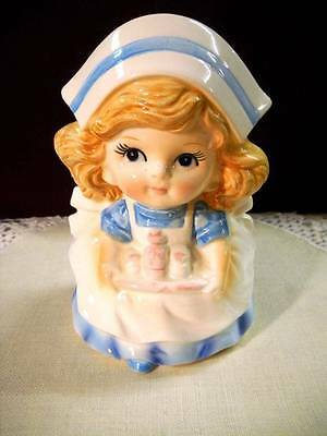 Vintage Japan Nurse Figurine Planter w/Medicine Tray Glossy