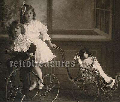 VICTORIAN GIRL TRICYCLE BOY w BISQUE DOLL Buggy BEAUTIFUL Cabinet Photo CHICAGO