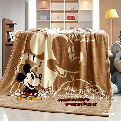 Mickey Mouse Flannel Blanket Throw Rug Warm Soft Plush Faux Mink Thin Coffee 1Pc