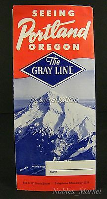 The Gray Line Bus Portland Brochure 1950's Sightseeing Tours